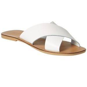 Seychelles waterfront leather slide sandals white